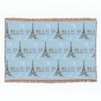 Paris Spring Love Blue Throw Blanket