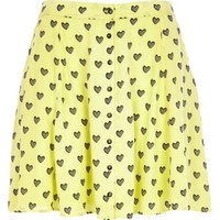 Yellow Chelsea Girl heart print skirt - mini skirts - skirts - women