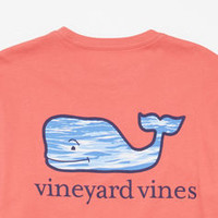 Long-Sleeve Whale Water Graphic Pocket T-Shirt