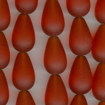 Teardrop Dark Orange Sea Glass 16x10mm Beads Set of 6