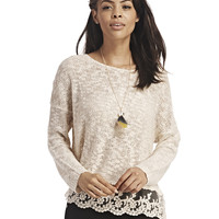 Crochet Trim Slouchy Sweater | Wet Seal