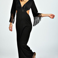 Talia Cut Out Detail Tassel Sleeve Maxi Dress