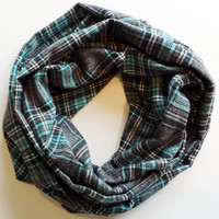 Grey and Teal Plaid Infinity Scarf Womens Fall Scarves Girls Back to School Accessories Chunky Plaid Scarf