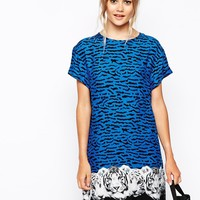 Minkpink Tiger Night T-Shirt Dress With Print Hem