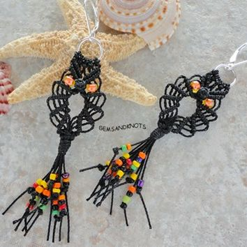 Black Halloween Micro Macrame Owl Earrings GK8383