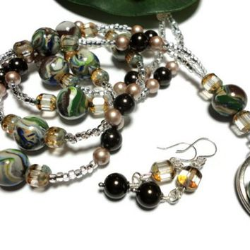 Lanyard Earrings Crystal Pearl Polymer Clay Picasso Glass Necklace
