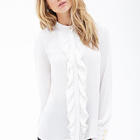 Ruffled Button-Down Blouse