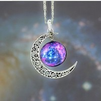Galaxy Necklace Hollow Out Crescent with Blue Purple Star Galactic Cosmic Moon Charm Necklace Wedding Necklace
