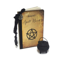 Personalized Spell Book Journal, Pentagram Notebook, Wiccan Book of Shadows, Halloween Journal, Witch's Spell Book