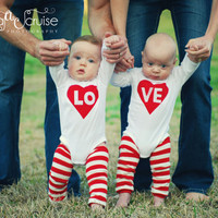 Twin or sibling Valentines Love Onesuit photo prop by mandy516