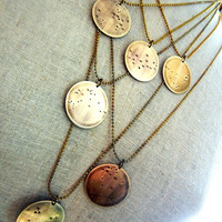 Zodiac Constellation Necklace | What's Your Sign | Aquarius Brass Necklace by E. Ria Designs Jewelry
