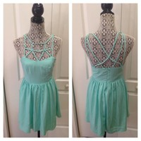 NWOT! Lulu's Caged Mint Dress SZ: M