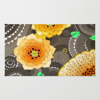 Concentric Floral Orange  Area & Throw Rug by DuckyB (Brandi)