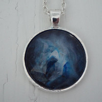 One of Kind Blue Cosmos Inspired Pendant Necklace