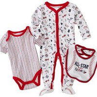 Vitamins Baby Boy Newborn All-star Team Three-Piece Footed Coverall Set