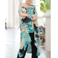 Ulla Popken 3-Piece Duster and Pants Set