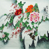 original painting chinese art  birds with peony and by art68