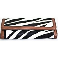 Brown Zebra Print Clutch Wallet with Checkbook Holder