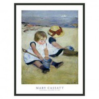 "Frames By Mail Children Playing on the Beach by Cassatt Framed Print - 32"" x 24"" - FLF76-BMG-RM - Decor"