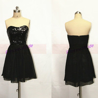 Simple short chiffon homecoming dress in black,2014 cheap prom dresses with sequins,cute chic women gowns for wedding party.