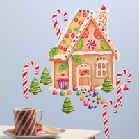 Wallies Gingerbread House Vinyl Holiday Mural Peel and Stick - 13502 - Decor