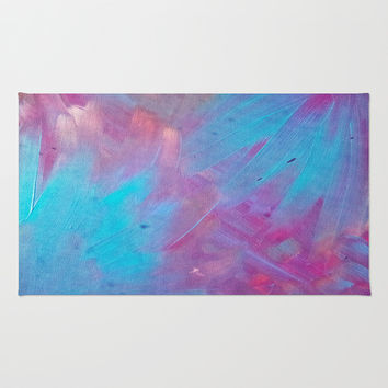 Blue Bloom Abstract Area & Throw Rug by DuckyB (Brandi)
