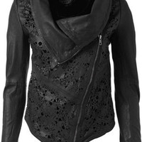 Muubaa Turan Laser Cut Cardigan Jacket | Muuba Leather Jacket