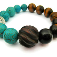 stacking stretch bracelet turquoise magnesite tigers eye arm candy