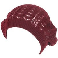 New Light Crochet Knit Slouchy Tam Beret Cap Hat Wine Small Medium