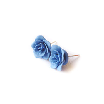 Earring studs, handmade studs, earrings studs, polymer clay studs, rustic studs, pastel color, post studs, flower studs, polymer clay flower