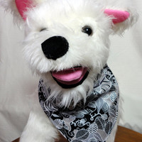 Pet Bandana Black White Over the Collar Handmade Cotton Dog Accessories Small to Medium