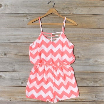 Sweetvine Chevron Romper in Pink