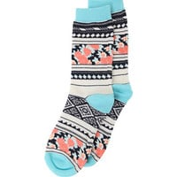 With Love From CA Floral Tribal Boot Socks - Womens Scarves - White - One