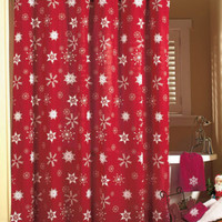 Crimson Snowflake Bathroom Shower Curtain Christmas Holiday Bath Decor