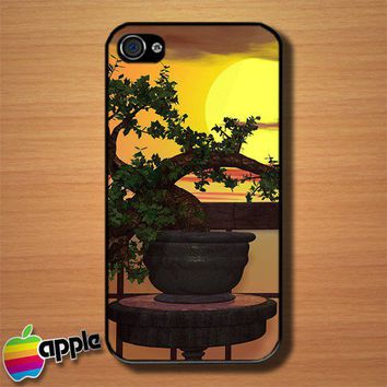 Japanese Bonsai at The Sunset Beach Custom iPhone 4 or 4S Case Cover | Merchanstore - Accessories on ArtFire