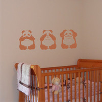 Nursery Wall Decal 3 Pandas speak no see by ChuckEByrdWallDecals