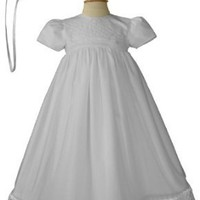 White Organza Lattice Christening Baptism Gown