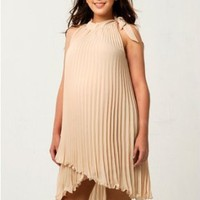 Women`s Lauren Kiyomi Pleated Chiffon Halter Tunic (Maternity) In Cream - Also Available in Black