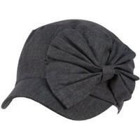 Cool Summer Big Ribbon Bow Military GI Castro Cadet Cabbie Elasitc Cap Hat Navy