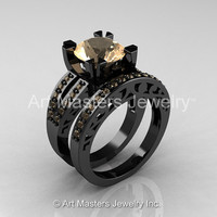 Modern Vintage 14K Black Gold 3.0 Carat Champagne Diamond Solitaire and Wedding Ring Bridal Set R102S-14KBGCHD