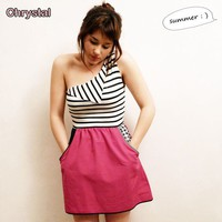 One shoulder striped dress// Deep Pink Skirt part by chrystalshop