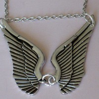 Silver Angel Wings Necklace With Spread Double Wings | StarlightSarah - Jewelry on ArtFire