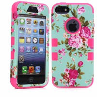 MagicSky Plastic + Silicone Tuff Dual Layer Hybrid Rose Flower On Green Case for Apple iPhone 5/5S - 1 Pack - Retail Packaging - Hot Pink
