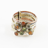 Peridot & Carnelian Two Tone Sterling Silver Ring