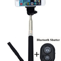 UFCIT Extendable Selfie Handheld Stick Monopod with Adjustable Phone Holder and Bluetooth Wireless Remote Shutter for iPhone Samsung and other system over IOS 6.0 and Android 4.2.2 Smartphones (Black with Shutter)