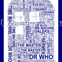 The Tardis A4 Shaped Word Art. Instant Download. Dr Who. Unique Printable Art. Home Decor. Original Gift Idea. Geek Gift.