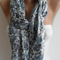 Grey and Purple Flowered Scarf Silvery Fabric by SwedishShop