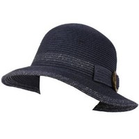 UPF 50+ Ladies Summer Shimmer Cloche Bell Bucket Sun Buckle Hat Cap 57cm Navy