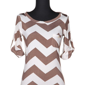Mocha and White Chevron Pocket Top