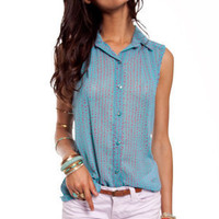 Dots and Buttons Top in Blue :: tobi